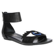 Sandalen, Keilabsatz, Augen-Design, Schwarz