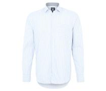 Freizeithemd, gestreift, Regular Fit, Haifisch-Kragen, Blau