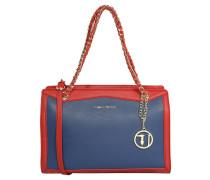 Handtasche, Narben-Optik, Ketten-Henkel, Blau