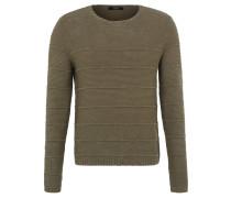 Pullover, Grobstrick, Streifen, Baumwolle, Grün
