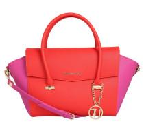 Handtasche, Leder-Optik, zweifarbig, Rot