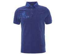 Poloshirt, Print, Aufnäher, Logo-Stickerei, Blau