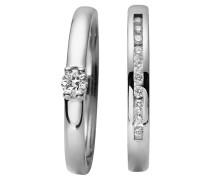 Ring-Set mit Diamanten, Weißgold 375, 2-teilig