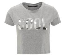 T-Shirt, kurz, Melange-Optik, Metallic-Aufdruck, Grau