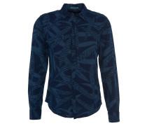 Freizeithemd, Leinen-Baumwoll-Mix, Allover-Print, Blau