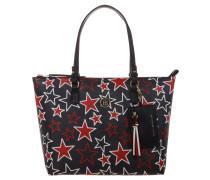 Shopper, Sternen-Print, Reißverschluss, Blau