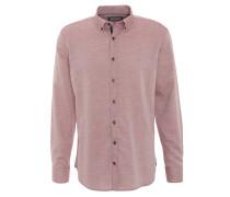Freizeithemd, feines Rauten-Muster, Button-Down-Kragen, Rot
