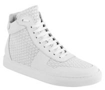 Sneaker, Leder, strukturiert, Weiß