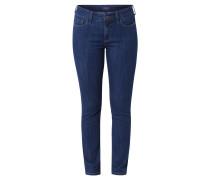Jeans, Slim Straight, hohe Leibhöhe, Blau