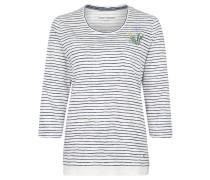 Shirt, 3/4-Ärmel, Streifen, Print, Weiß