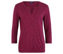 Shirt, 3/4-Arm, Allover-Print, Split-Neck, Pink
