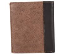 Brieftasche, genarbtes Leder, zweifarbig, Braun
