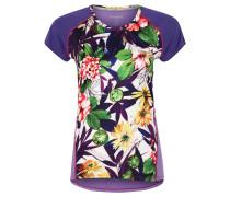 T-Shirt, floraler Print, Gitterstoff am Rücken, für Damen, Mehrfarbig