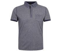Poloshirt, Baumwolle, gemustert, Brusttasche, Blau