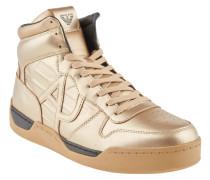 Sneaker, Metallic-Optik, Leder, hoher Schaft, Marken-Prägung, Gold