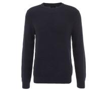 Pullover, Strick-Musterung, reine Baumwolle, Rundhals, Blau
