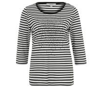 Shirt, 3/4-Arm, gestreift, Strass, Baumwollmix