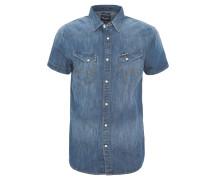 Jeans-Hemd, Slim Fit, Kurzarm, Blau