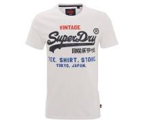 T-Shirt, Logo-Print, dicker Stoff, Weiß