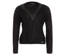 Stricksweater, Zopfmuster, verziertes Dekolleté, Rundhals, Schwarz