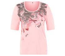 T-Shirt, Blumen-Print, hablange Ärmel, Rosa