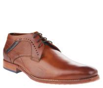 Schnürschuhe, Leder, Derby-Style, Loch-Muster, Braun
