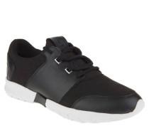 Sneaker, Materialmix, herausnehmbare Sohle, Emblem, Schwarz