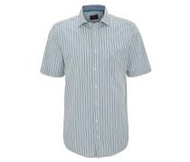 Hemd, Kurzarm, Streifen, Baumwolle, Brusttasche, Grün