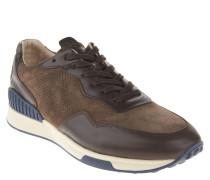 Sneaker, Leder, Lochmuster, Schnürung, Braun