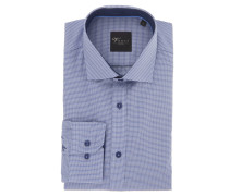 "Businesshemd ""Black Label"", Slim Fit, Kent-Kragen, Karo, Blau"