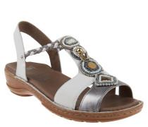 Sandalen, Luftpolster in Laufsohle, Perlen, Weiß