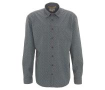 Freizeithemd, Regular Fit, geometrisches Muster, Kent-Kragen, Grau