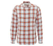 Freizeithemd, Regular Fit, Kent-Kragen, Leinen, Karo-Muster, Orange