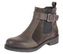 Chelsea Boots, Leder, Textil, Schnalle, Grau