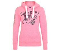 Sweatshirt, Melange, Kapuze, Print, Pink