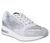 Sneaker, Veloursleder, Strass, Weiß