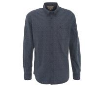 Freizeithemd, Regular Fit, geometrisches Dreiecks-Muster, Blau