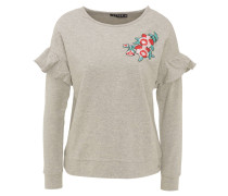 Sweatshirt, Blumen-Stickerei, Ärmel-Volants