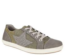 Sneaker, glitzernd, Stern, Strass, Schnürung, Oliv