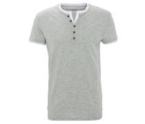 T-Shirt, meliert, Knopfleiste, Baumwolle, Grün