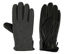 Handschuhe, Materialmix, Leder, elastischer Bund