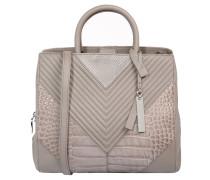 Handtasche, Leder, Struktur-Musterung, Grau