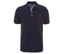 Poloshirt, geometrisches Muster, Baumwolle, Blau