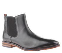 Chelsea Boots, Leder, Reptil-Prägung, Schwarz