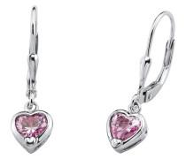 Ohrhänger Herz mit rosa Zirkonia Silber 925