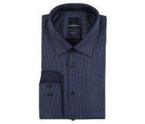 Business-Hemd, Kent-Kragen, Geometrie-Muster, Blau