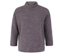 Pullover, Stehkragen, Rippstrick, Rot