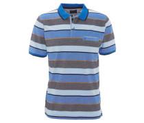 Polohemd, Piqué, Streifen, Brusttasche, reine Baumwolle, Blau