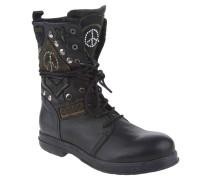 Boots, Leder, Schnürung, Aufnäher, Nieten, Schwarz