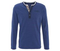 Langarmshirt, Henley-Stil, Streifen, Brusttasche, Marken-Stickerei, Blau